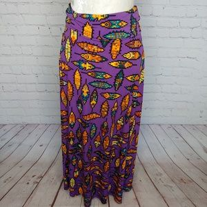 LuLaRoe Purple Orange Teal Maxi Skirt Size XS NWT
